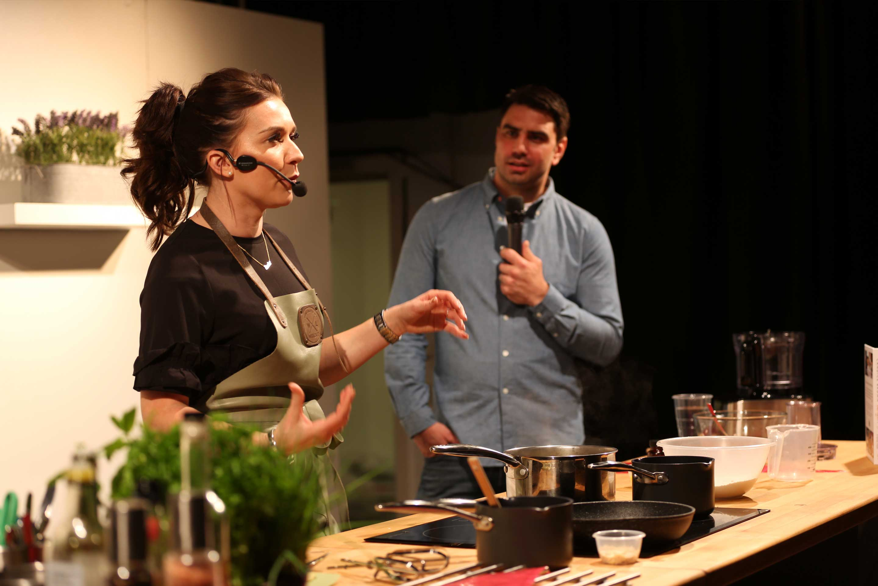 Candice Brown and Chris Bavin at The Cookery Theatre